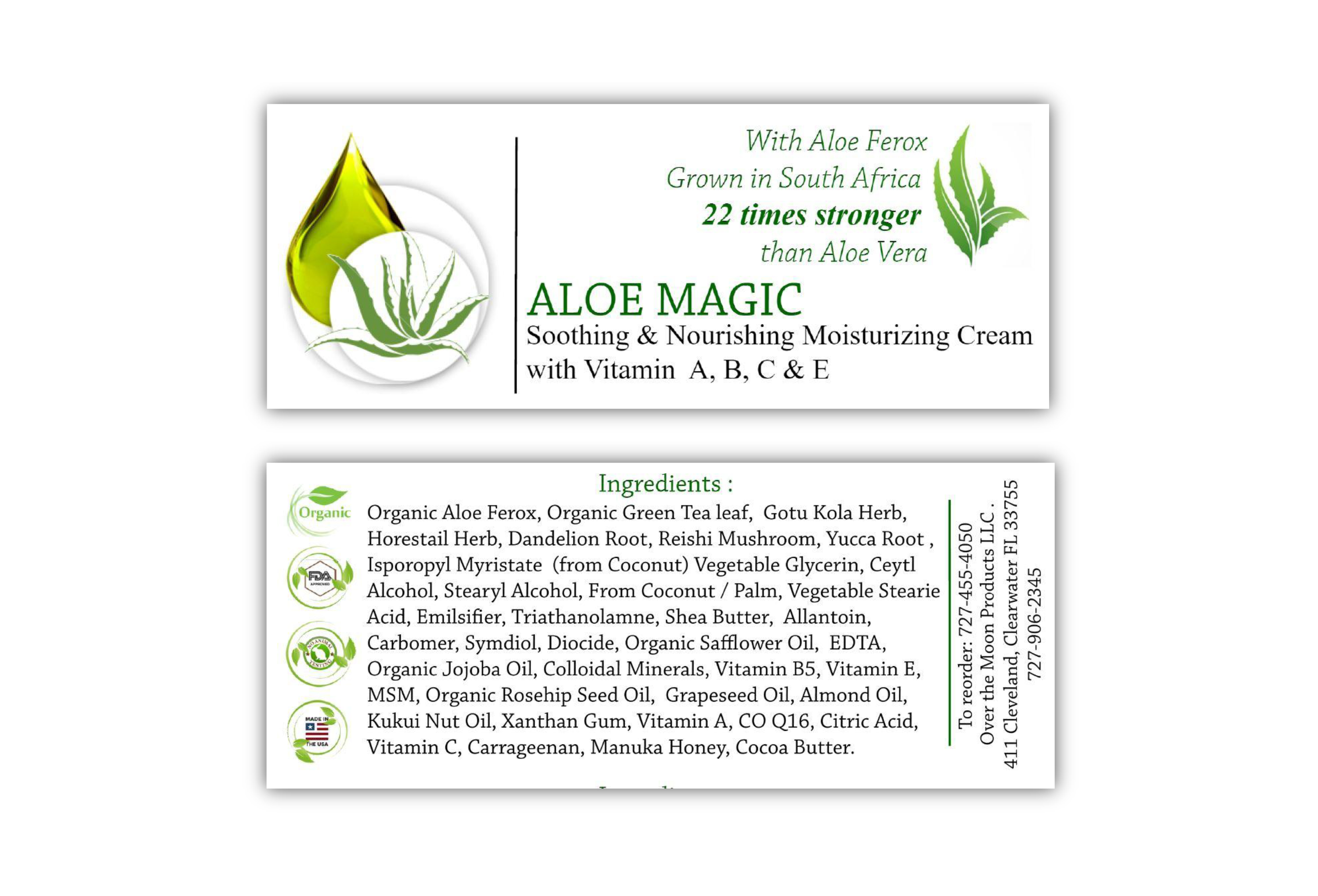 Aloe Magic Front & Back Label
