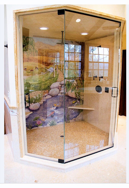 Entire Outside Glass Shower -Lime Stone