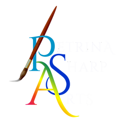 Petrina Sharp Arts-  Logo ~ White Letter