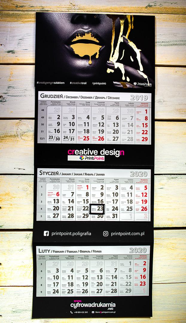 Kalendarz trójdzielny ze złoceniem