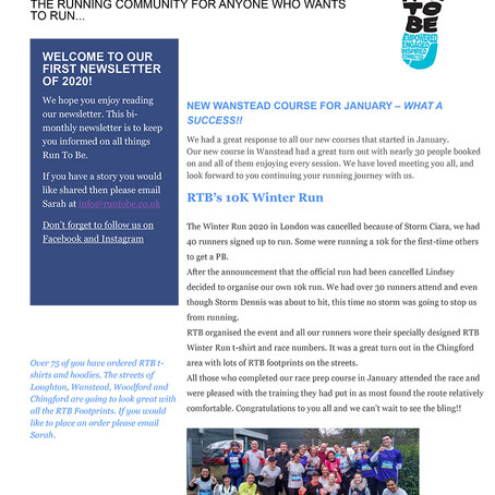 Run To Be Newsletter: Issue 1