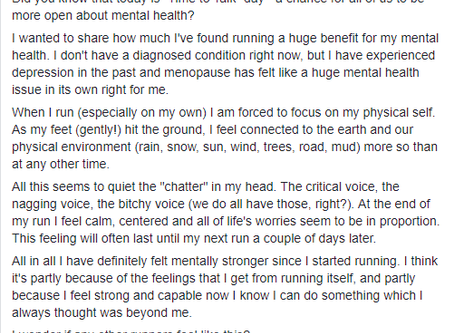 """""""I've found running a huge benefit for my mental health"""" - Bev Hilton"""