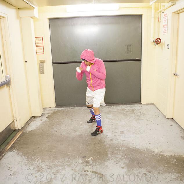Pink Sweatshirt Hallway Warmup