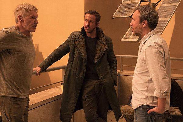 O diretor Denis Villeneuve e as estrelas do file, Ryan Gosling e Harrison Ford