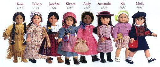 Algumas das bonecas históricas AmericanGirl