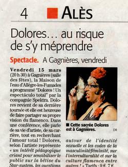 Dolores à Gagnières (Midi Libre 14 mars 2019)