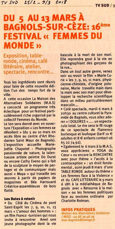Festival Femmes du Monde_TV SUD_février-
