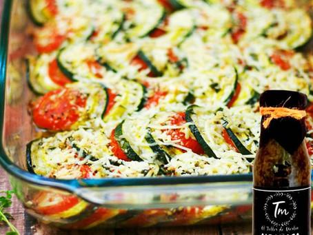 Gratin de zucchini y tomate a la parmesana