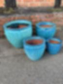 Glazed Aqua Blue Pots