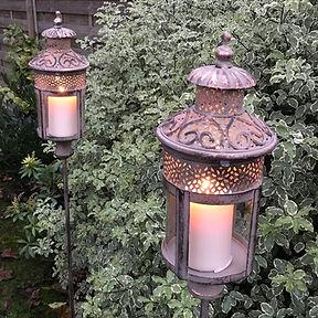 Lantern on Stake in Antique Rose Gold