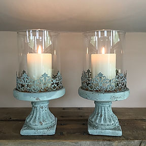 Large Powder Blue Candle Holder L2