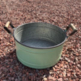 Galvenised Round Planter with Handles Green