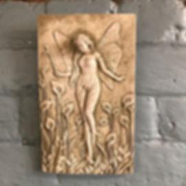 Stone Plaque Fairy Lillies
