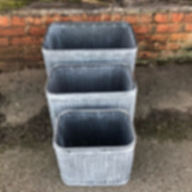 Galvenised Rectangular Dolly Style Planters