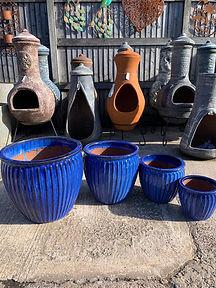 Blue Ribbed Glazed Planters