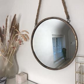 Round Rope Hanging Mirror Rose Gold
