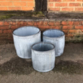 Galvenised Round Dolly Style Planters