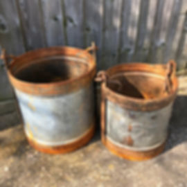 Galvenised Buckets with Handles