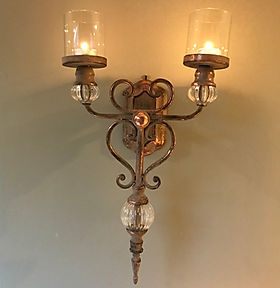 Stunning Wall Sconce Candle Holder in Rustic Rose Gold