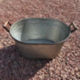 Galvenised Oval Planter with Handles