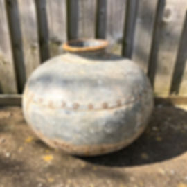 Galvenised Indian Water Carrier Pot Genuine