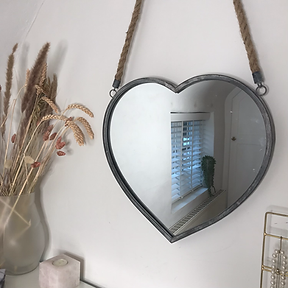 Heart Rope Hanging Mirror French Grey
