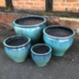Glazed Planters Frost Proof Blue