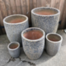 Cream & Grey Textured Finish Pots