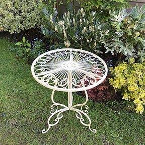 Small Metal Garden Table in Cream