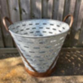 Galvenised Repro Olive Basket/Basket