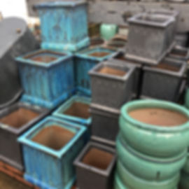 Aqua Green & Matt Black Square Pots/Planters