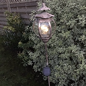 Pretty Solar Lantern on Stake in Rose Gold Finish