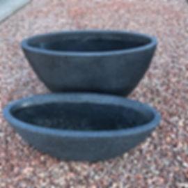 Contemporary Oval Planters Fibre Clay Black