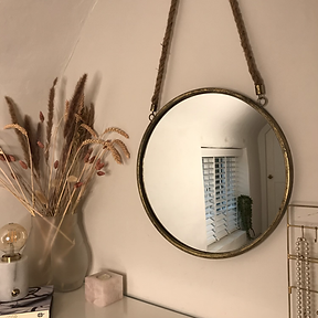 Round Rope Hanging Mirror Gold