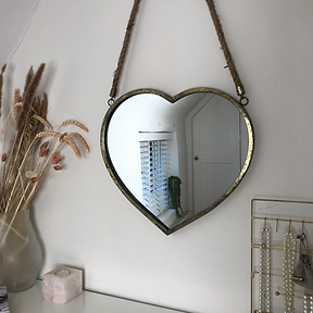 Heart Rope Hanging Mirror Gold