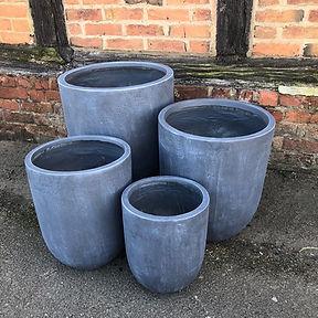 Contemporary Round Planters Fibre Clay Grey