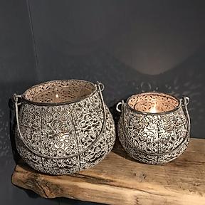 Pretty Grey Metal Fretwork Lanterns