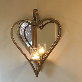 Wall Mounted Heart Candle Holder in Rustic Gold with Mirror