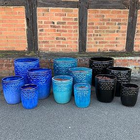 Blue / Aqua / Black Glazed Pots
