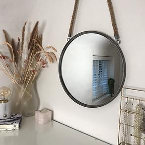 Round Rope Hanging Mirror French Grey