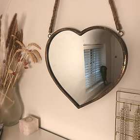 Heart Rope Hanging Mirror Rose Gold