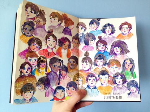 Character faces sketchbook