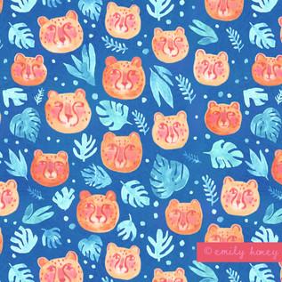 Jungle cheetah faces pattern - Peach + blue