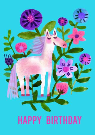 Happy birthday - Pony + Flowers