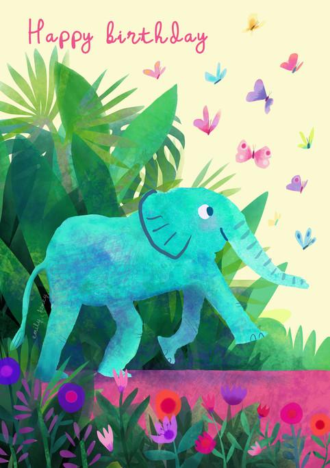 Elephant + butterflies