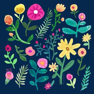 Watercolour flowers design