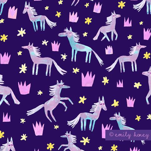 Ponies + Princesses pattern - Navy + yel