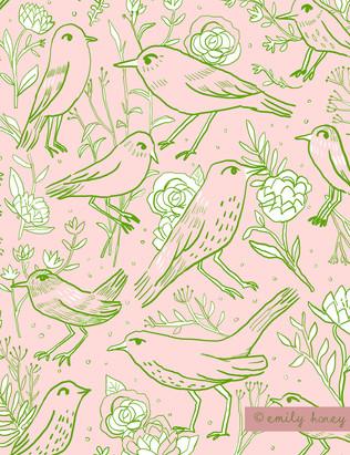 Green line drawing birds + flowers - pea