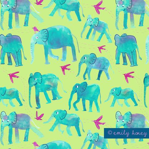 Elephants +birds repeat pattern - green