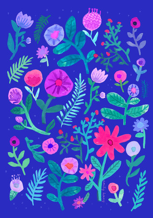 Electric blue flowers